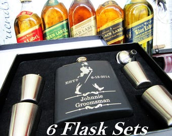 6 Groomsman Flask Gift Set