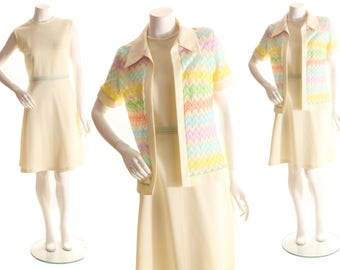 1970s Off White Cream Knit Two Piece Knee Length Sleeveless Dress with Matching Rainbow Knit Over Shirt by Bleeker Street-L