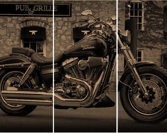 Harley Davidson/ Motorcycle / Bike Print Wood Painting / Wall Art On  Stained Solid BIRCH Part 51