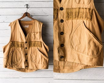 50s Shooting Vest - Canvas Hunting Workwear Wiskon - Size Large
