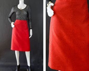 Valentine's Day Skirt, Red High Waisted Skirt, Metallic Red Skirt, Knee Length Skirt, Secretary Skirt, Date Night Skirt, Women's Size 12