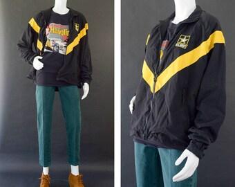 U.S. Army Windbreaker Jacket, Black and Yellow Army Jacket, Black  90s Windbreaker, Military Issued Jacket, Unisex Size Small Long