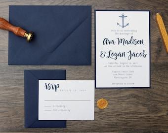 Nautical Modern Anchor Wedding Invitation, Simple & Elegant