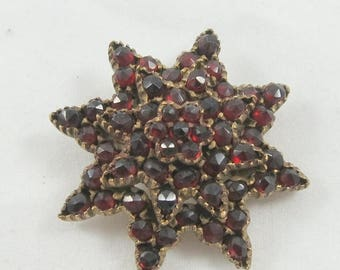 Spring Sale Antique Victorian Garnet Brooch Pin in Eight-Point Star