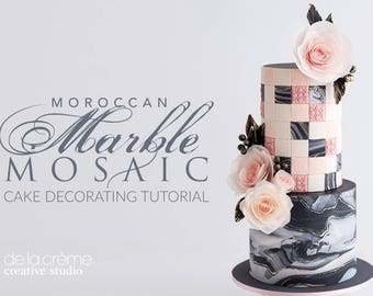 Moroccan Marble Cake & Wafer Paper Rose Tutorial