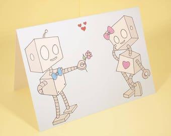 Robot love card - original cartoon, Anniversary card, Valentine's card, wedding card