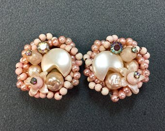 Big Pink Plastic Beaded Clip Earrings-Pure 1950's! Free shipping