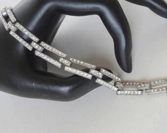 Art Deco/Art Modern Pot Metal Crystal Rhinestone Bracelet