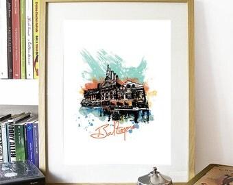 Baltimore Print, Baltimore Skyline, Baltimore Art, Baltimore Poster, Baltimore Watercolor, Baltimore Art, Baltimore Map, Baltimore Wall Art