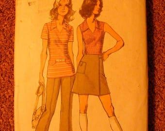 ON SALE 35% OFF 1970's Vintage Misses' Top Mini Wrap Skirt / Pants Simplicity Sewing Patten 9969 Size 14 Bust 36