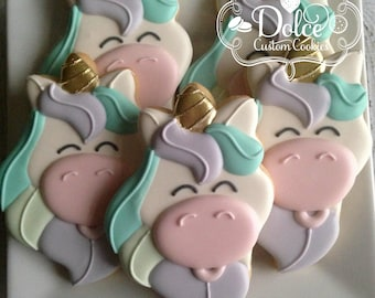 Unicorn Rainbow Birthday First Birthday Party Favor Cookies