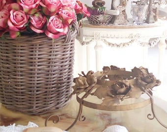 Ciel de lit, crown, gilt tole roses shabby chic bed canopy french italian, crip bedroom romantic shabby chic chandelier swag, crystal,