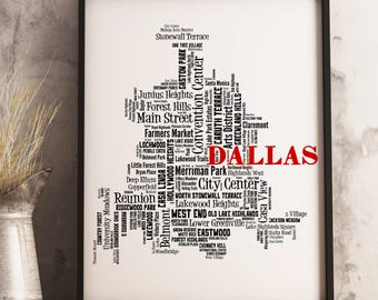 Dallas Map Art, Dallas Art Print, Dallas Neighborhood Map, Dallas Typography Art, Dallas Wall Decor, Dallas Moving Gift
