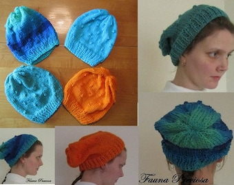 Hand-Knitted Slouchy Hat, Knit Beanie Hat, Choose Your Own Color, Fauna Preciosa