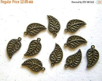HALF PRICE 10 Bronze Filigree Leaf Charms