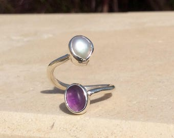 Amethyst Silver Ring, Pearl Silver Ring, Two Stone Ring, Dual Gemstone Ring, Double Stone Ring, Adjustable Ring, Amethyst & Pearl Ring