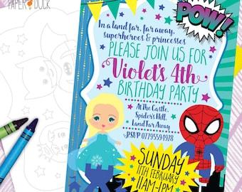5 X Personalised Fairytale PRINCESS ELSA * SUPERHERO Batman Spiderman Birthday Party Invitation Invites Stationary