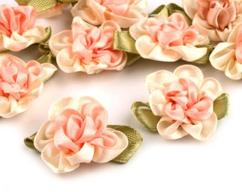 4 small pink salmon satin flowers 22 x 35 mm