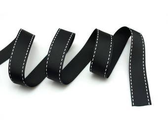 Grosgrain 15 mm black stitching