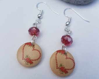 Handmade Heart & Rose Wooden Pendant drop Earrings