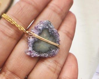 Amethyst Necklace, Minimalist Crystal Necklace