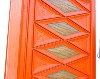 Mid-Century Modern Orange Faux Bois Diamond Pattern Waste Basket/Trash Can || Retro Style Repurposed Planter || Color Pop Home/Office Decor