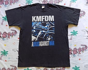 Vintage 90's KMFDM A Drug Against War T shirt, size XL 1994 album Industrial goth electronic