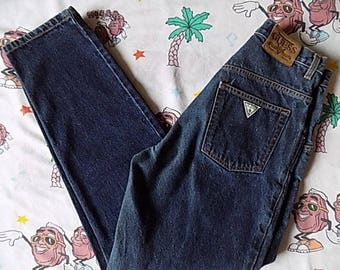 Vintage 90's GUESS Pascal Loose Fit Tapered dark indigo Jeans, 28x32 baggy high waisted Triangle Logo