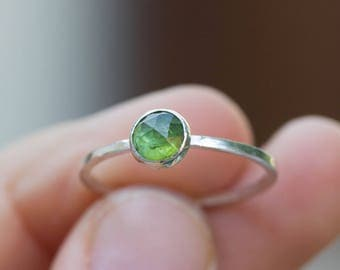 Green tourmaline - Simple silver solitaire ring with deep green tourmaline rose cut gemstone, October birthstone, 5mm