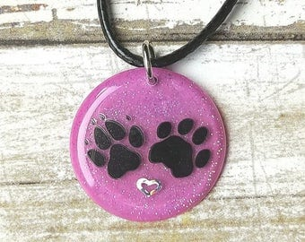Paw Print Necklace, Resin Jewelry, Pet Memorial Jewelry, Best Selling Items, Pet Loss Necklace, Puppy Gifts, Pet Memorial Gifts