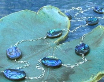 Long Abalone Shell Sterling Silver Station Necklace, Blue Green Paua Illusion Necklace, Iridescent Blue Necklace, River of Beauty Designs