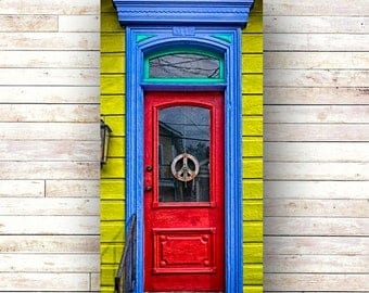 New Orleans Art -PEACE -French Quarter Doors - Architecture - Photography -Doors-Shutters- Historic Building- Birch Boxes- Wood