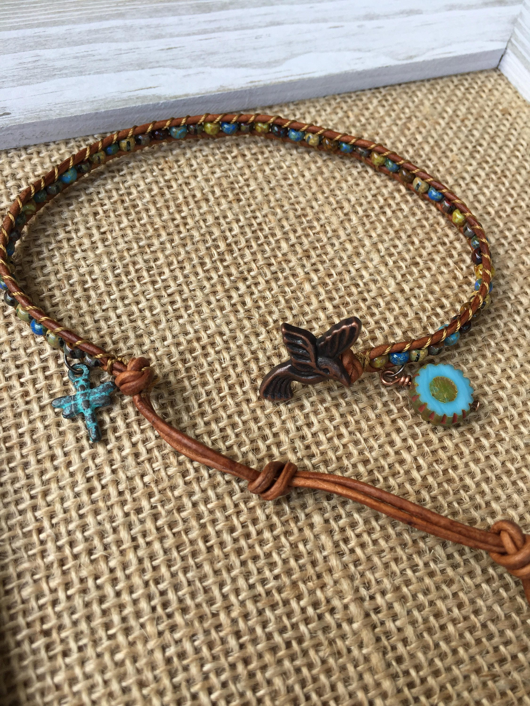 jewelry boho chic anklet bracelets caymancode hummingbird p bracelet made leather usa bohemian in dragonfly cute flower ankle