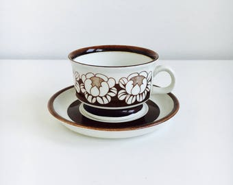 "Vintage Arabia Finland ceramic coffee cup set named ""Katrilli"", designed by Esteri Tomula / Ulla Procope, 1970s, Made in Finland"