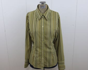 vintage 1970's style button down stripe polyester shirt with oversize large wide collar women ladies size medium
