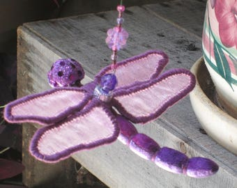 Dragonfly Ornament- Housewarming Gift - Bridesmaid Gift - Christmas - Birthday Gift -  Mixed Purple Velvet