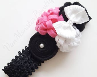 Baby Headband With Felt Flowers