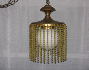 Vintage hanging swag lamp beads glass globe