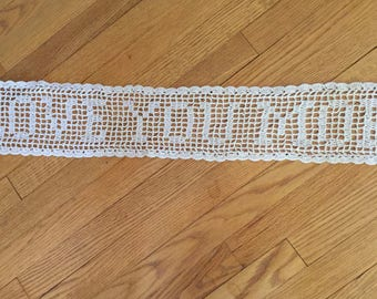 LOVE YOU MORE, Filet Crochet Doily, Message Doily, Dresser Runner, Sofa Table Scarf, Buffet Scarf,  Handmade Lace, Ecru Victorian Lace