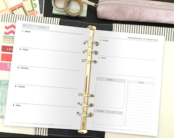 2018 Yearly Planner - 2018 Printable Planner - Weekly Planner - Planner - Planner Inserts - A5 Planner Inserts - Instant Download