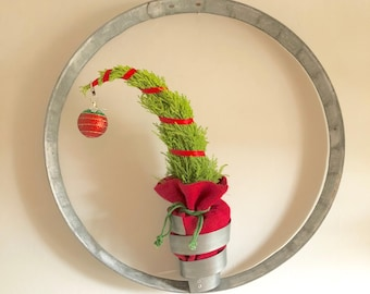 Rustic Christmas Wreath | Circle Sculpture With Swirl Plant Holder | Handmade From Recycled Wine Barrel Metal Hoop
