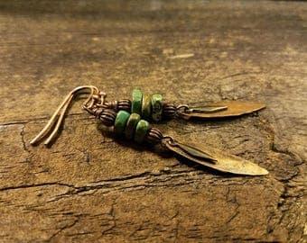 Boho Earrings, Copper Earrings, Copper and Turquoise Earrings