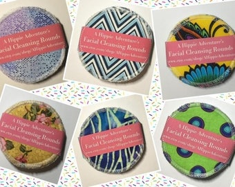 Set of 8 Natural Terry Backed Premium Round Cotton Pads, Facial Cleansing Rounds, Eco-Alternative to Cotton Balls, Reusable Cosmetic Rounds