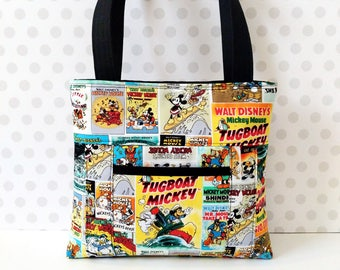 Classic Mickey Poster Shoulder Bag /Small  Purse / Magnetic Snap Closure