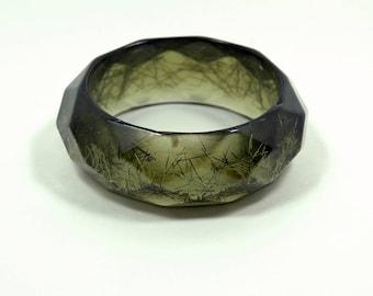 Estate Jewelry Vintage Lucite Bangle Confetti Lime Green