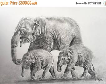 "20% off Baby Elephant, Original Pencil Drawing, Animal Art, Original Art  22""x 15"" Asian Elephants Art,  Elephant Drawing, Mother and Childr"