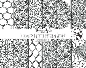 Seamless Glitter Pattern Set #2 in Silver Digital Paper Set - Personal & Commercial Use