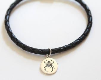 Leather Bracelet with Sterling Silver Spider Charm, Spider Charm Bracelet, Spider Bracelet, Silver Spider Bracelet, Black Widow Bracelet