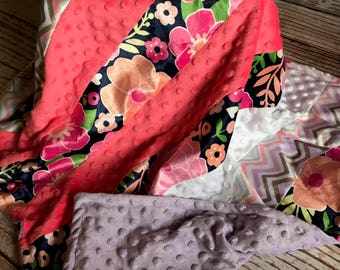 Minky Baby Blanket  Floral themed  ***Solid Minky***