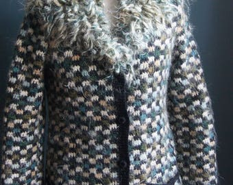Hand crochet mohair cardigan